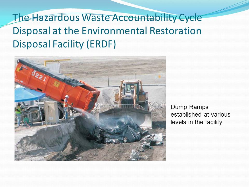 The Hazardous Waste Accountability Cycle Disposal at the Environmental Restoration Disposal Facility (ERDF) Dump Ramps established at various levels in the facility