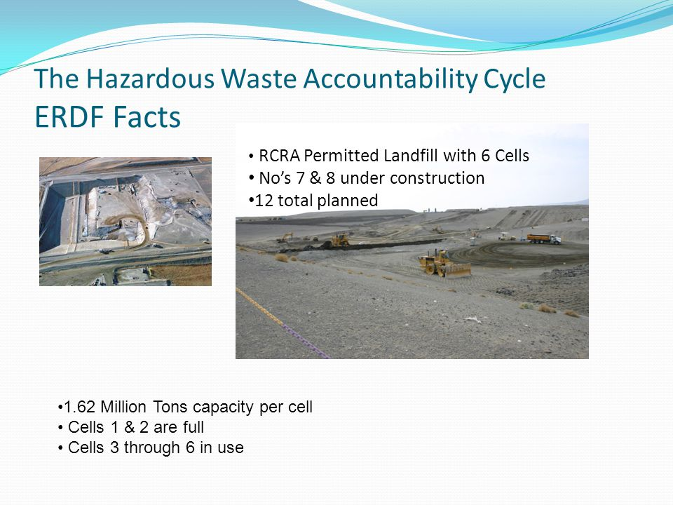 The Hazardous Waste Accountability Cycle ERDF Facts RCRA Permitted Landfill with 6 Cells No's 7 & 8 under construction 12 total planned 1.62 Million Tons capacity per cell Cells 1 & 2 are full Cells 3 through 6 in use