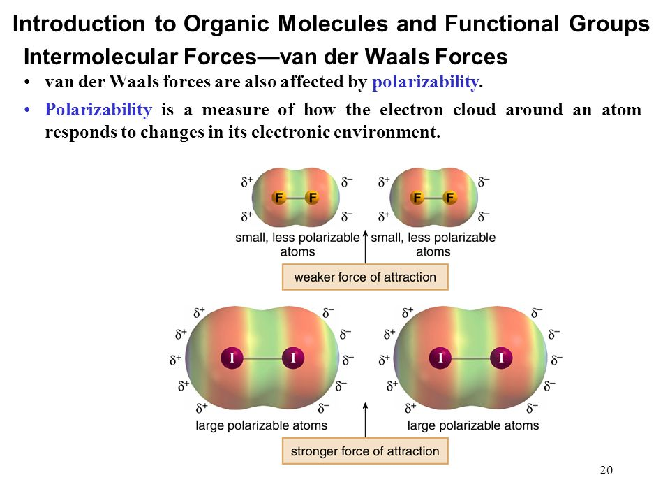20 van der Waals forces are also affected by polarizability. Polarizability is a measure of how the electron cloud around an atom responds to changes