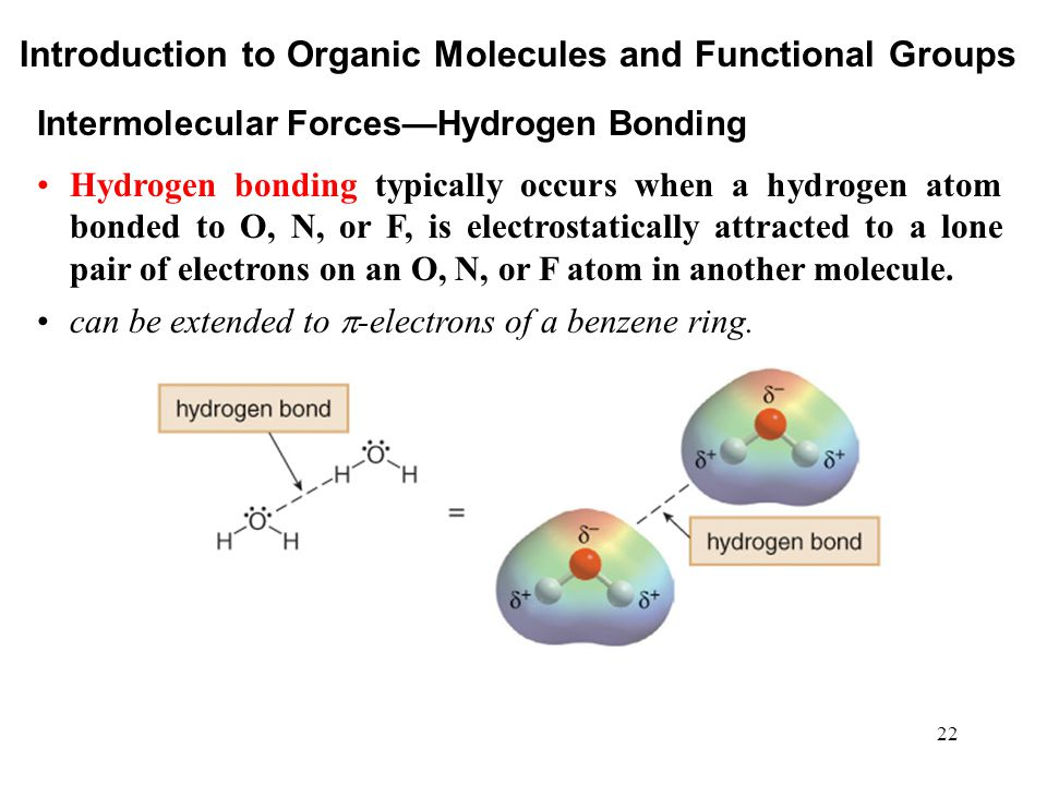 22 Hydrogen bonding typically occurs when a hydrogen atom bonded to O, N, or F, is electrostatically attracted to a lone pair of electrons on an O, N,