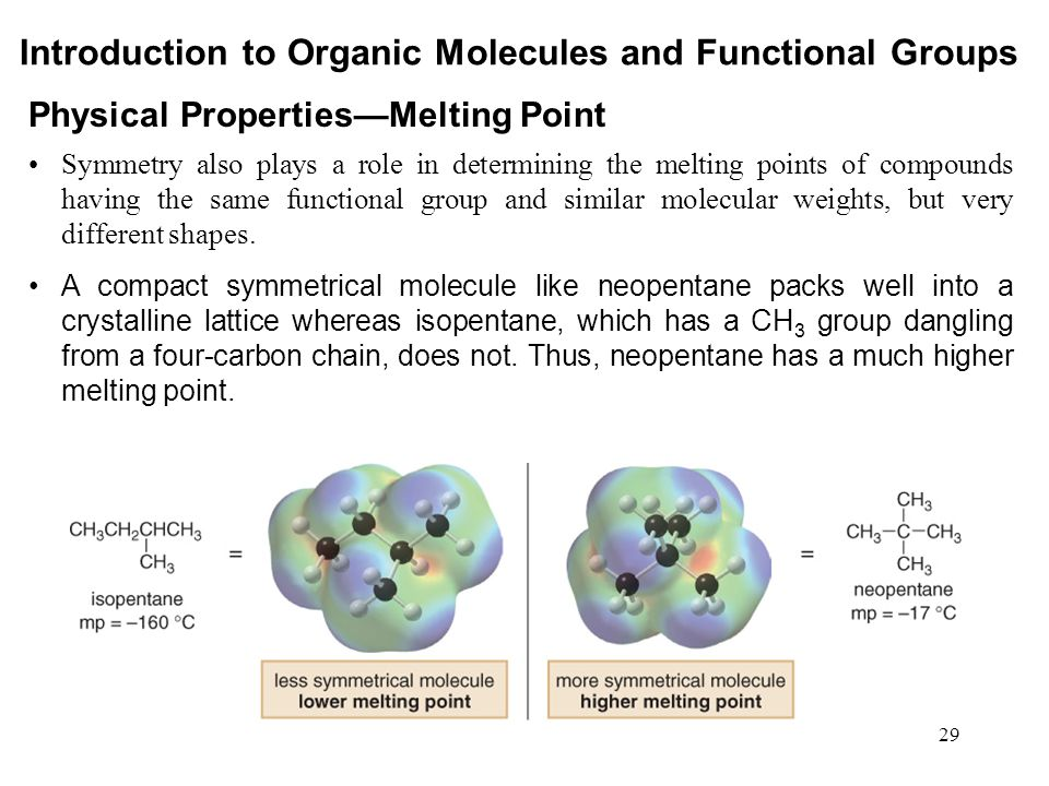 29 Symmetry also plays a role in determining the melting points of compounds having the same functional group and similar molecular weights, but very