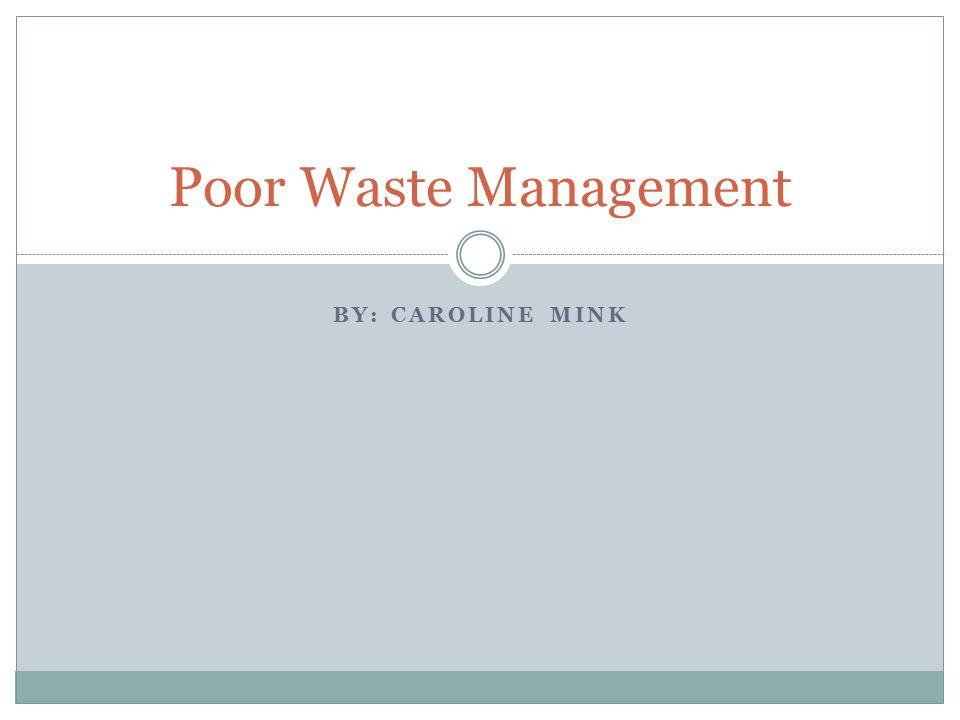 BY: CAROLINE MINK Poor Waste Management