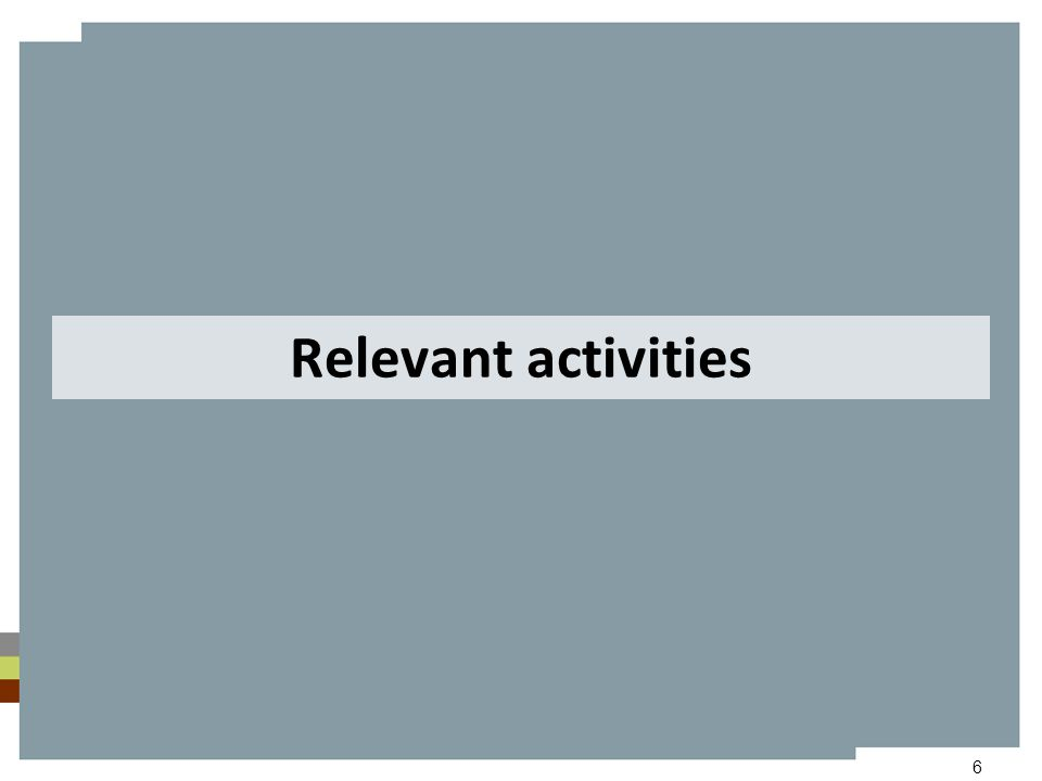 6 Relevant activities