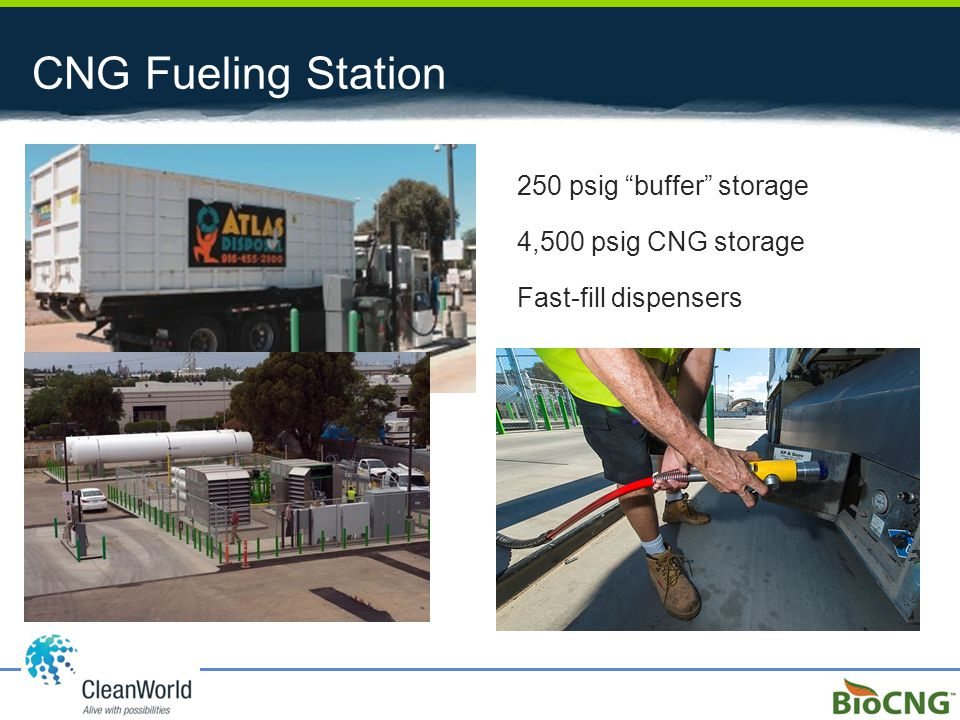 """CNG Fueling Station 250 psig """"buffer"""" storage 4,500 psig CNG storage Fast-fill dispensers"""