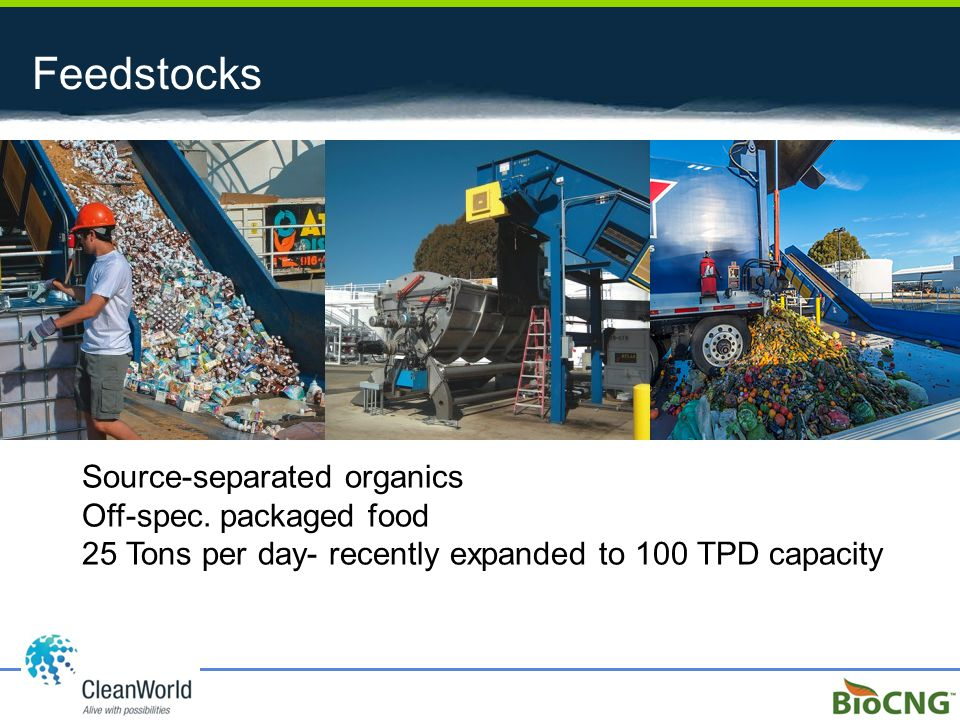 Feedstocks Source-separated organics Off-spec. packaged food 25 Tons per day- recently expanded to 100 TPD capacity