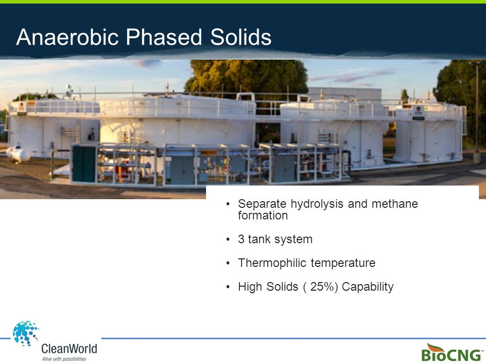 Anaerobic Phased Solids Separate hydrolysis and methane formation 3 tank system Thermophilic temperature High Solids ( 25%) Capability