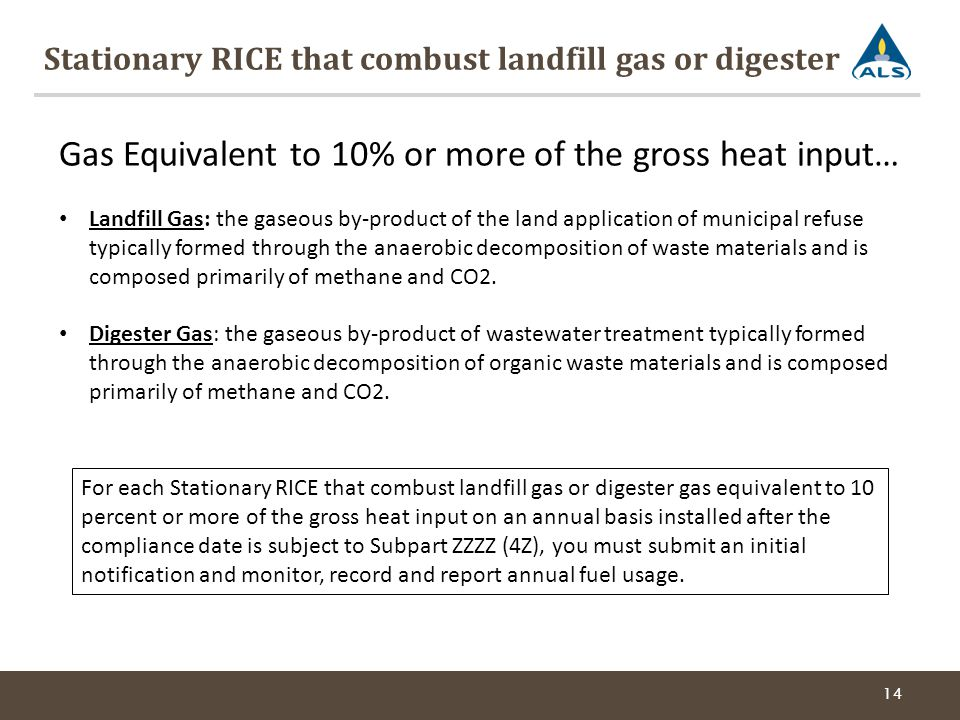 Stationary RICE that combust landfill gas or digester 14 Gas Equivalent to 10% or more of the gross heat input… Landfill Gas: the gaseous by-product of the land application of municipal refuse typically formed through the anaerobic decomposition of waste materials and is composed primarily of methane and CO2.