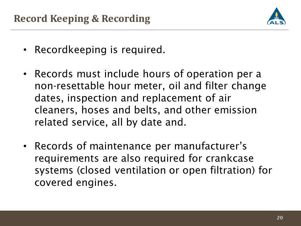 Record Keeping & Recording 20 Recordkeeping is required.