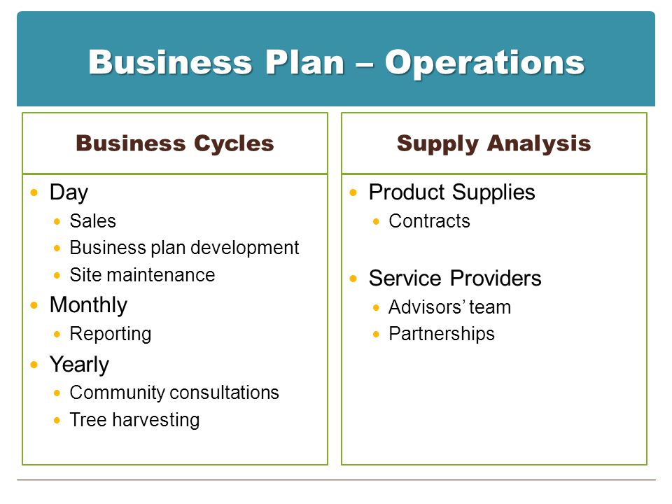 Business Plan – Operations Business Cycles Day Sales Business plan development Site maintenance Monthly Reporting Yearly Community consultations Tree