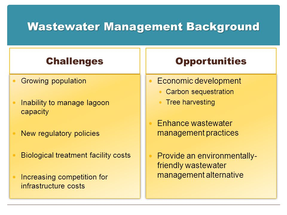 Wastewater Management Background Challenges Growing population Inability to manage lagoon capacity New regulatory policies Biological treatment facili