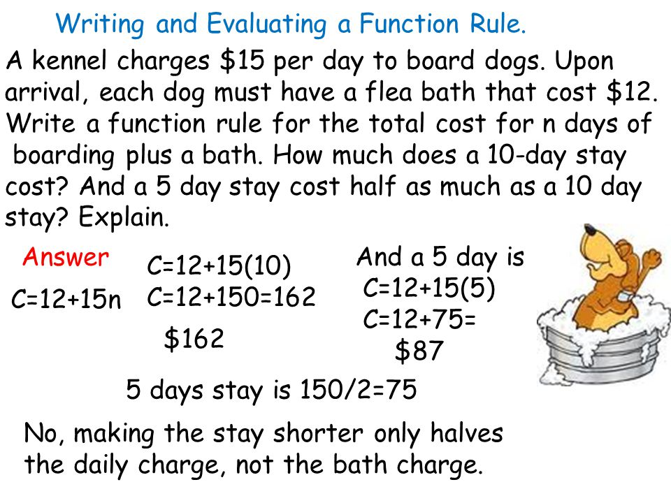 Writing and Evaluating a Function Rule. A kennel charges $15 per day to board dogs.