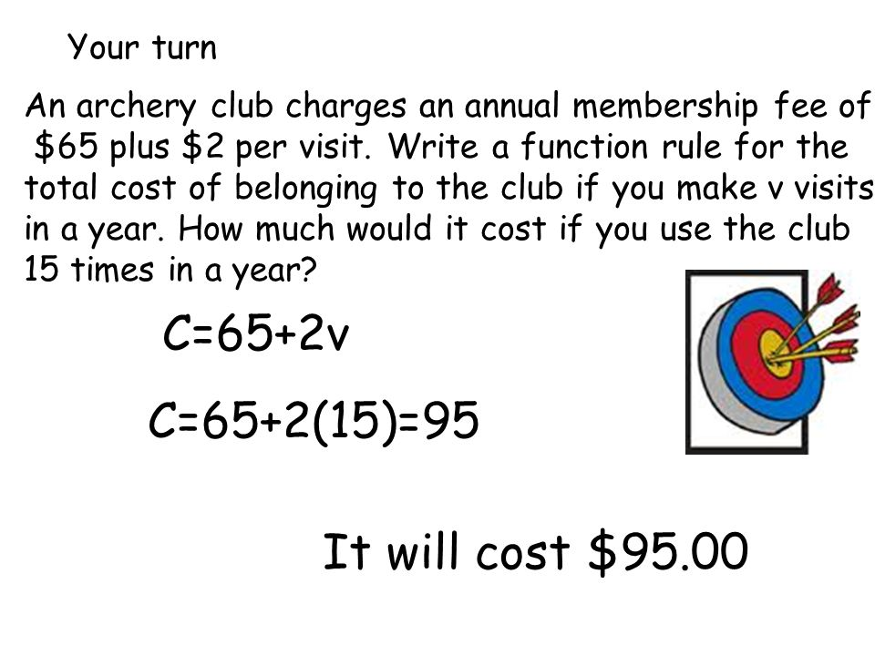 Your turn An archery club charges an annual membership fee of $65 plus $2 per visit.