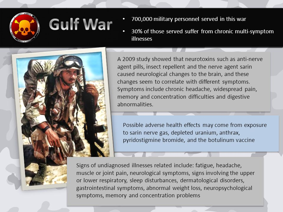 700,000 military personnel served in this war 30% of those served suffer from chronic multi-symptom illnesses A 2009 study showed that neurotoxins such as anti-nerve agent pills, insect repellent and the nerve agent sarin caused neurological changes to the brain, and these changes seem to correlate with different symptoms.