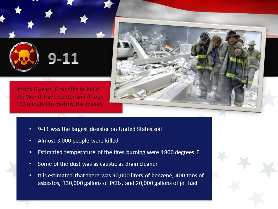It took 6 years, 8 months to build the World Trade Center and it took 102 minutes to destroy the towers 9-11 was the largest disaster on United States soil Almost 3,000 people were killed Estimated temperature of the fires burning were 1800 degrees F Some of the dust was as caustic as drain cleaner It is estimated that there was 90,000 liters of benzene, 400 tons of asbestos, 130,000 gallons of PCBs, and 20,000 gallons of jet fuel