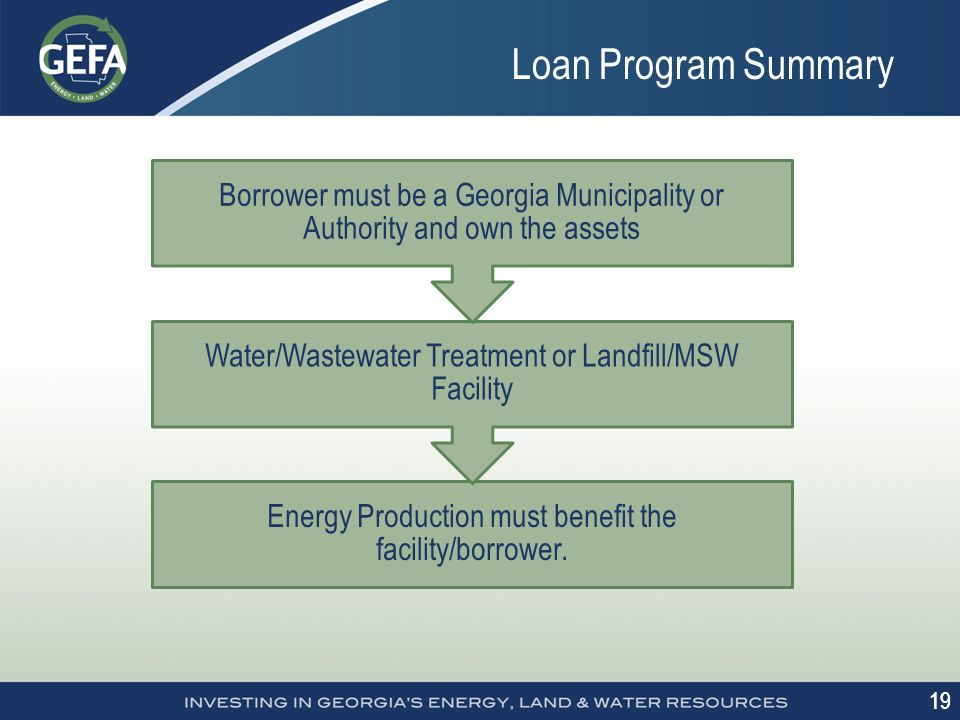 19 Loan Program Summary Energy Production must benefit the facility/borrower.