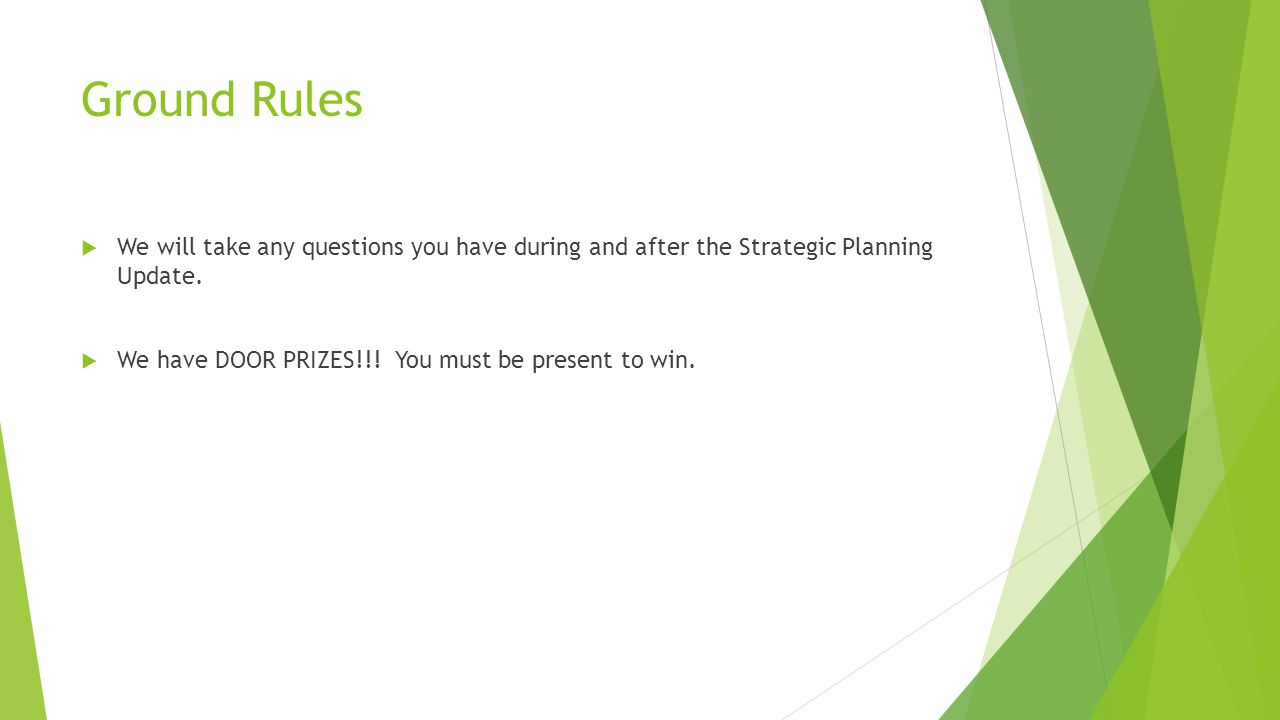 Ground Rules  We will take any questions you have during and after the Strategic Planning Update.