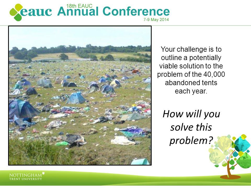 Your challenge is to outline a potentially viable solution to the problem of the 40,000 abandoned tents each year.