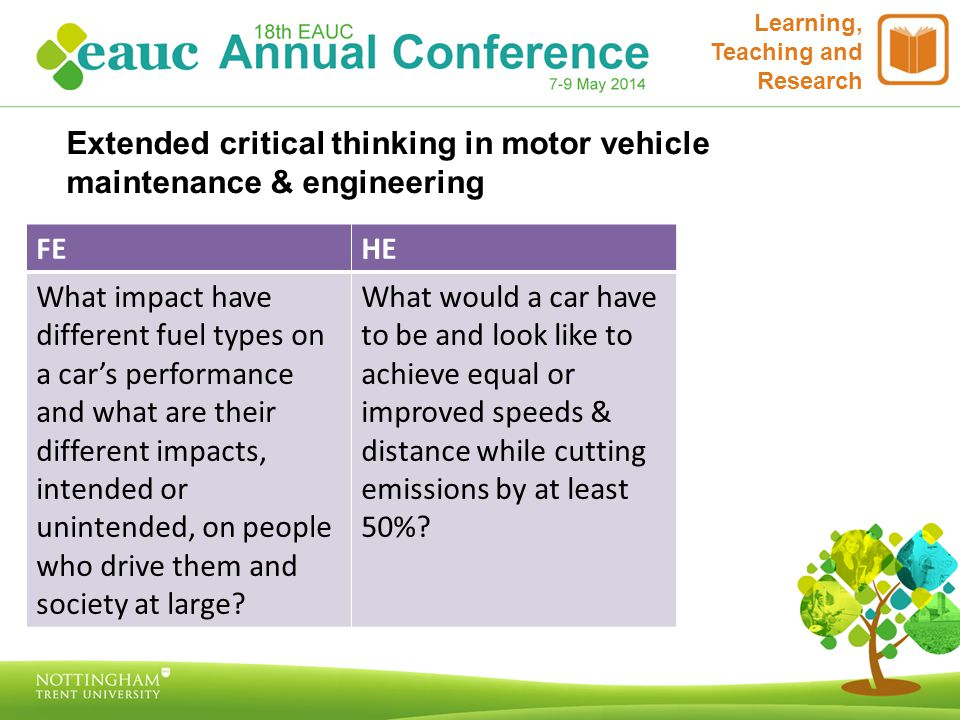 Extended critical thinking in motor vehicle maintenance & engineering Learning, Teaching and Research FEHE What impact have different fuel types on a car's performance and what are their different impacts, intended or unintended, on people who drive them and society at large.