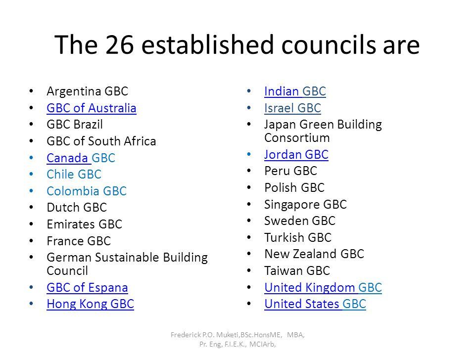 The 26 established councils are Argentina GBC GBC of Australia GBC Brazil GBC of South Africa Canada GBC Canada Chile GBC Colombia GBC Dutch GBC Emira