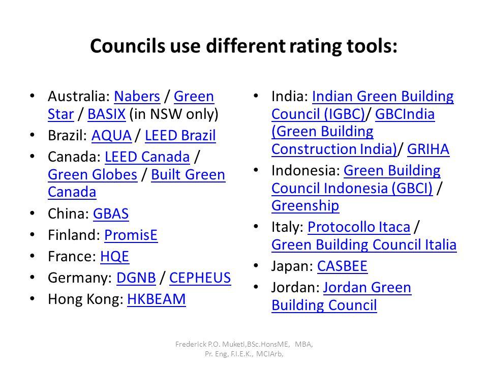 Councils use different rating tools: Australia: Nabers / Green Star / BASIX (in NSW only)NabersGreen StarBASIX Brazil: AQUA / LEED BrazilAQUALEED Braz