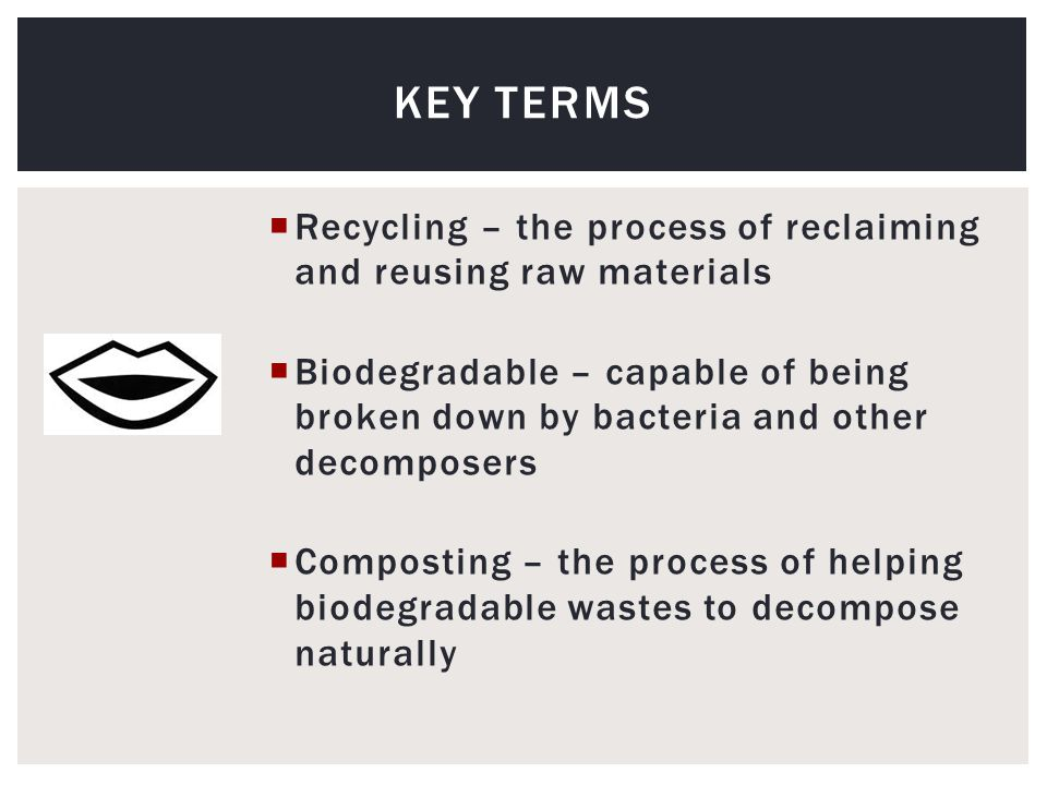  Recycling – the process of reclaiming and reusing raw materials  Biodegradable – capable of being broken down by bacteria and other decomposers  Composting – the process of helping biodegradable wastes to decompose naturally KEY TERMS