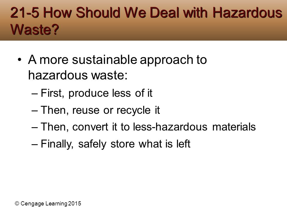 © Cengage Learning 2015 A more sustainable approach to hazardous waste: –First, produce less of it –Then, reuse or recycle it –Then, convert it to les