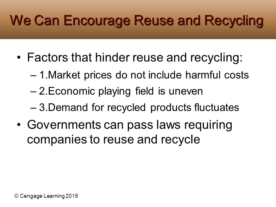 © Cengage Learning 2015 Factors that hinder reuse and recycling: –1.Market prices do not include harmful costs –2.Economic playing field is uneven –3.