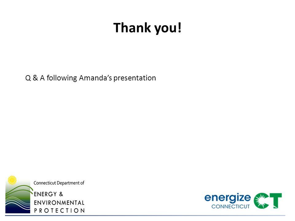 Q & A following Amanda's presentation Thank you!