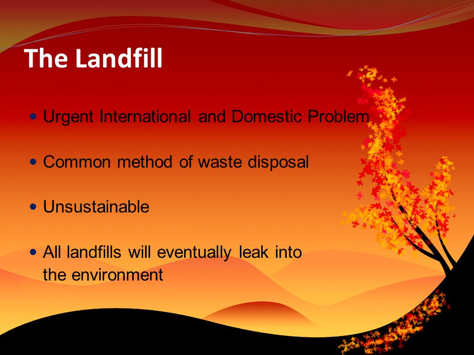 The Landfill Urgent International and Domestic Problem Common method of waste disposal Unsustainable All landfills will eventually leak into the environment