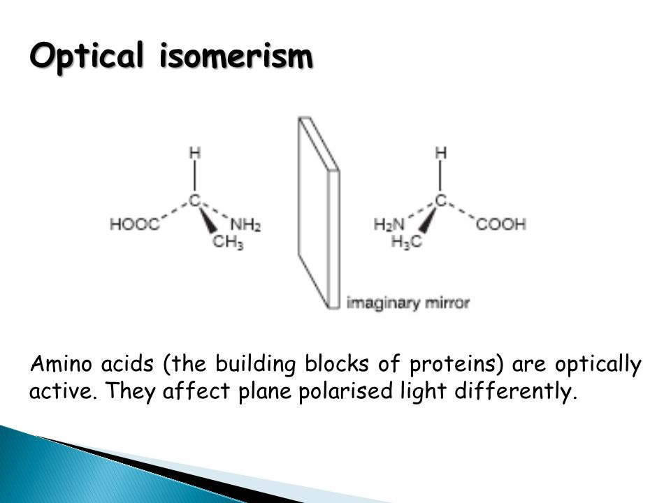 Optical isomerism Amino acids (the building blocks of proteins) are optically active. They affect plane polarised light differently.