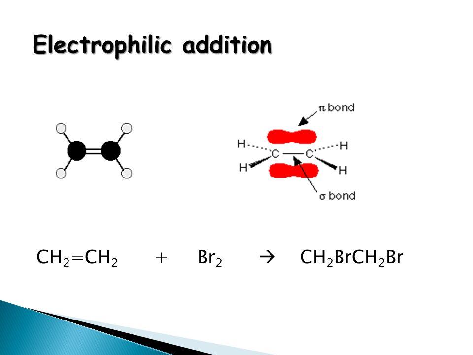 CH 2 =CH 2 + Br 2  CH 2 BrCH 2 Br Electrophilic addition
