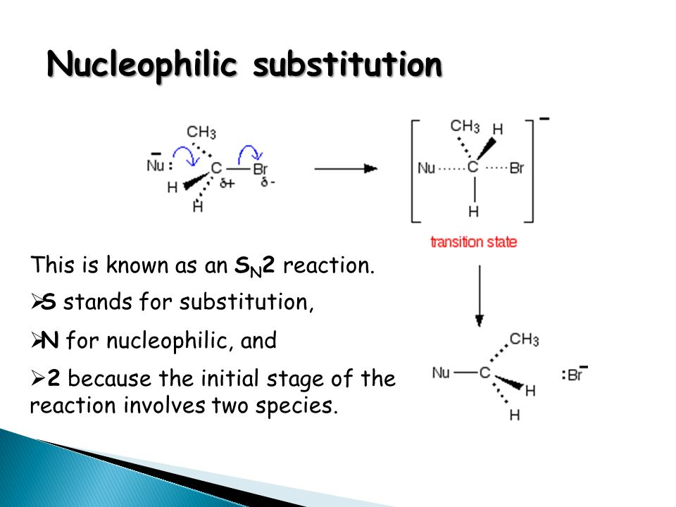 Nucleophilic substitution This is known as an S N 2 reaction.  S stands for substitution,  N for nucleophilic, and  2 because the initial stage of