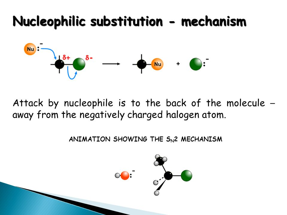 Nucleophilic substitution - mechanism ANIMATION SHOWING THE S N 2 MECHANISM Attack by nucleophile is to the back of the molecule – away from the negat