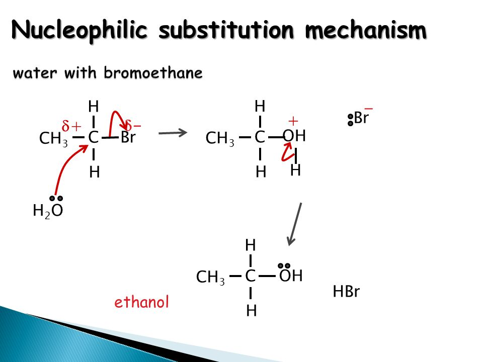 water with bromoethane Nucleophilic substitution mechanism ethanol ++ -- CH 3 H Br C H - H CH 3 H OH C H + CH 3 H OH C H HBr H2OH2O