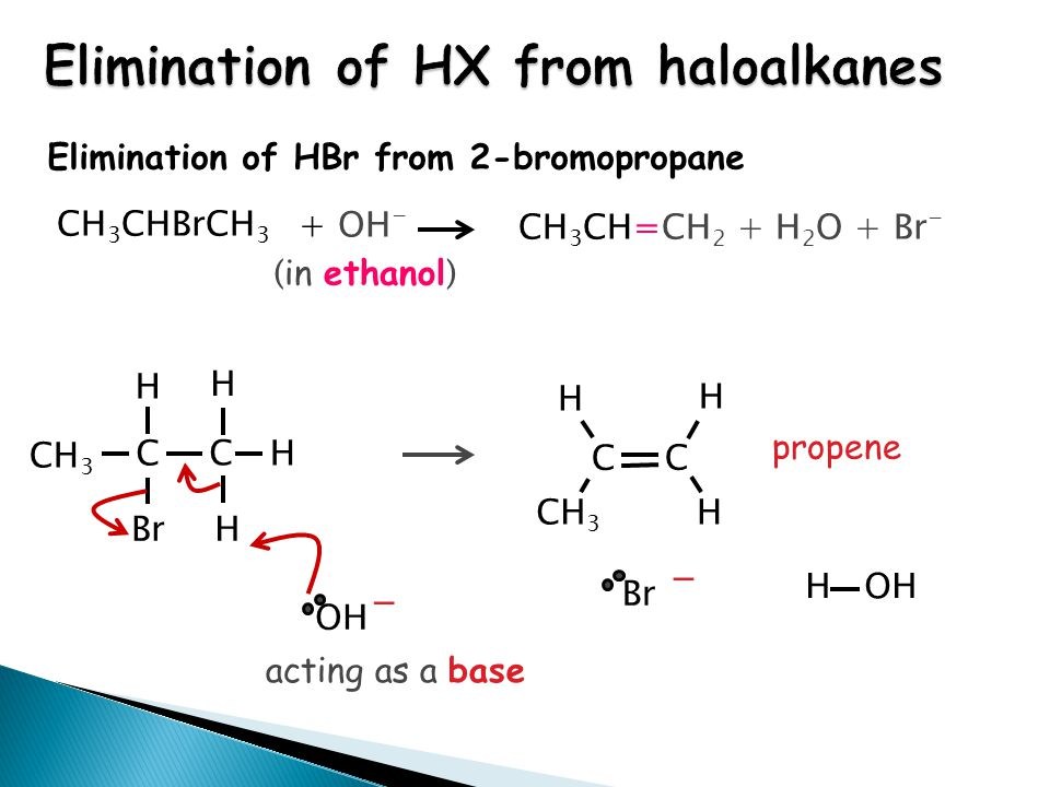 Elimination of HBr from 2-bromopropane CH 3 H H H C C OH - CH 3 H H H C C BrH propene H OH Br - CH 3 CHBrCH 3 + OH - CH 3 CH=CH 2 + H 2 O + Br - ( in