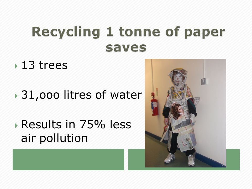  13 trees  31,ooo litres of water  Results in 75% less air pollution