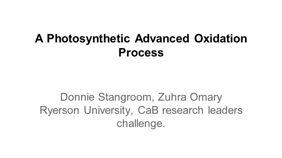 A Photosynthetic Advanced Oxidation Process Donnie Stangroom, Zuhra Omary Ryerson University, CaB research leaders challenge.