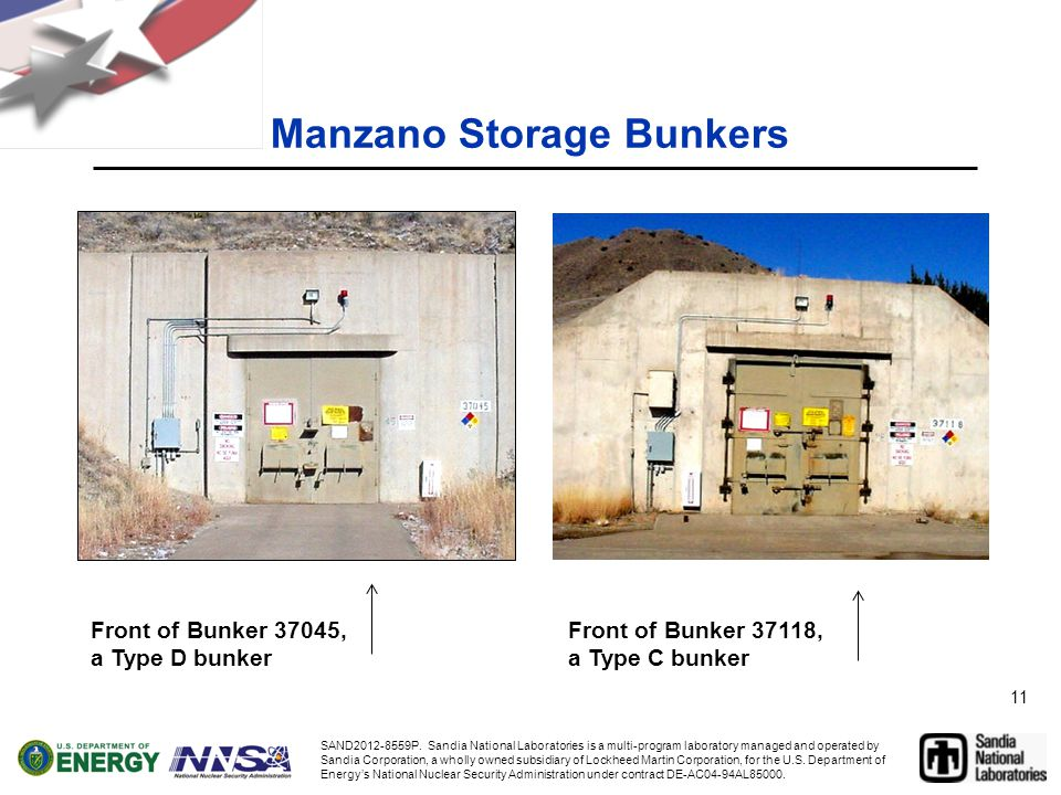 11 Manzano Storage Bunkers Front of Bunker 37045, a Type D bunker Front of Bunker 37118, a Type C bunker SAND2012-8559P.