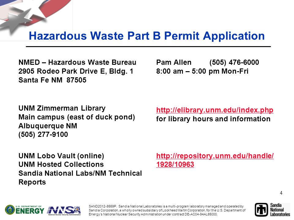 4 Hazardous Waste Part B Permit Application NMED – Hazardous Waste Bureau 2905 Rodeo Park Drive E, Bldg.
