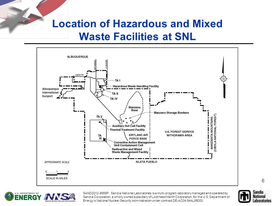 6 Location of Hazardous and Mixed Waste Facilities at SNL SAND2012-8559P.