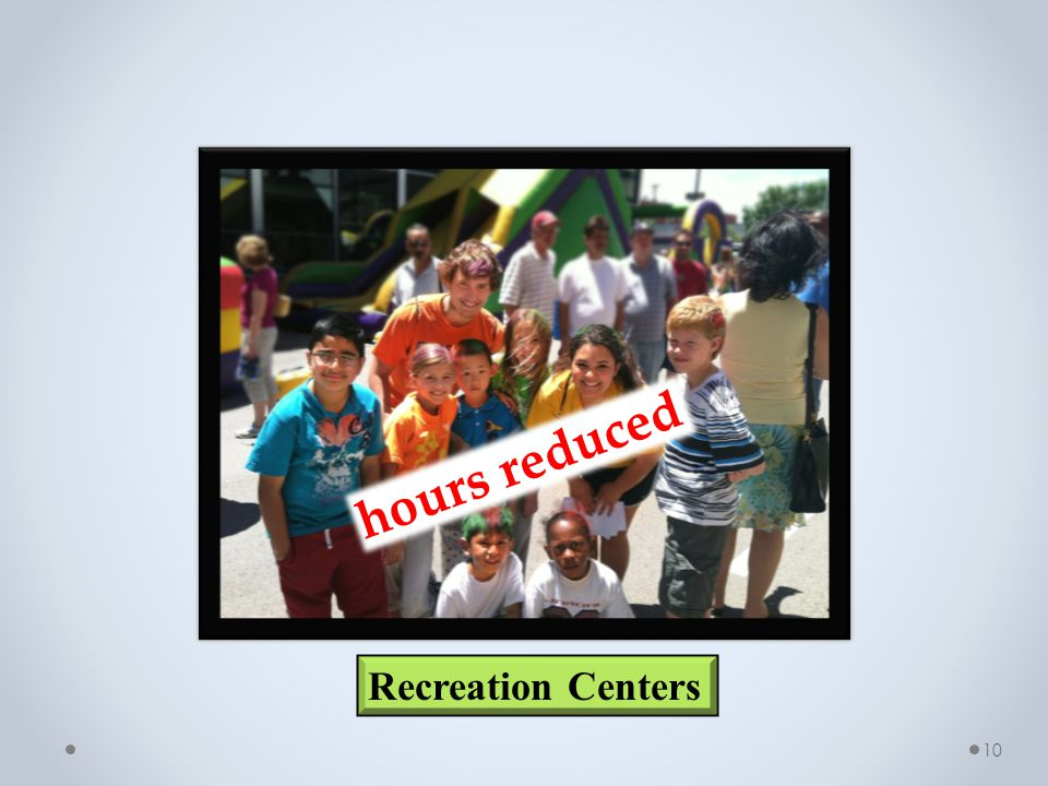 10 Recreation Centers hours reduced