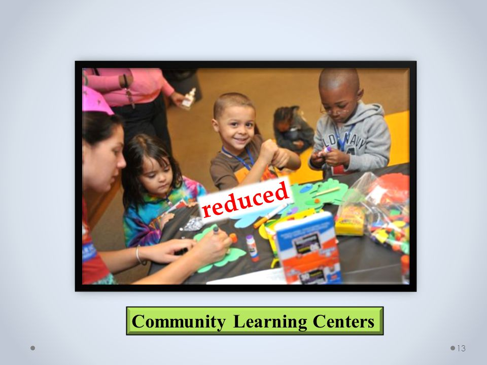 13 Community Learning Centers reduced