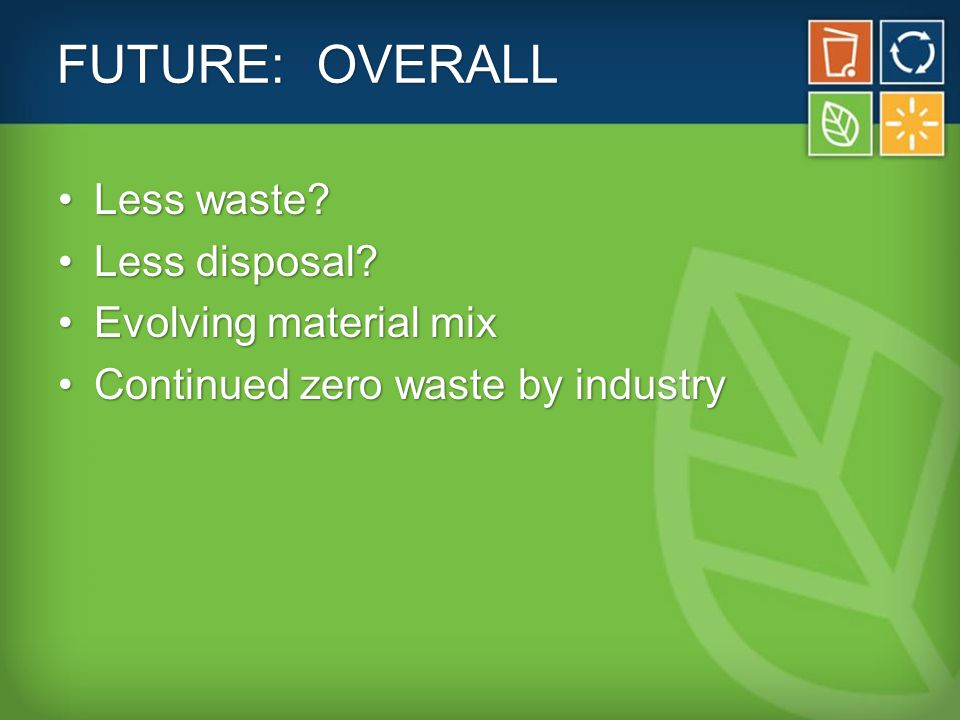 FUTURE: OVERALL Less waste Less waste. Less disposal Less disposal.