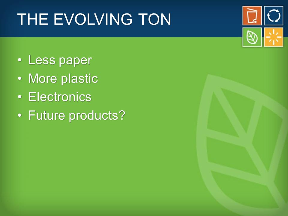 THE EVOLVING TON Less paperLess paper More plasticMore plastic ElectronicsElectronics Future products Future products