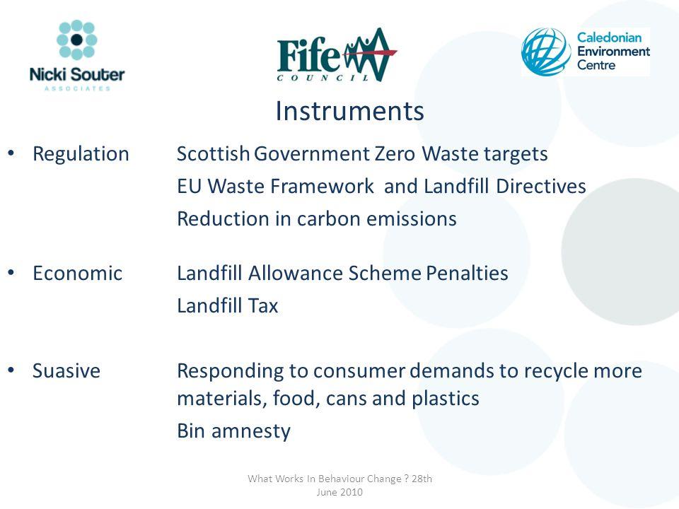 Instruments Regulation Scottish Government Zero Waste targets EU Waste Framework and Landfill Directives Reduction in carbon emissions EconomicLandfil