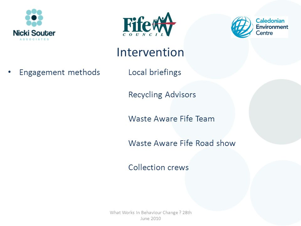 Engagement methodsLocal briefings Recycling Advisors Waste Aware Fife Team Waste Aware Fife Road show Collection crews What Works In Behaviour Change .