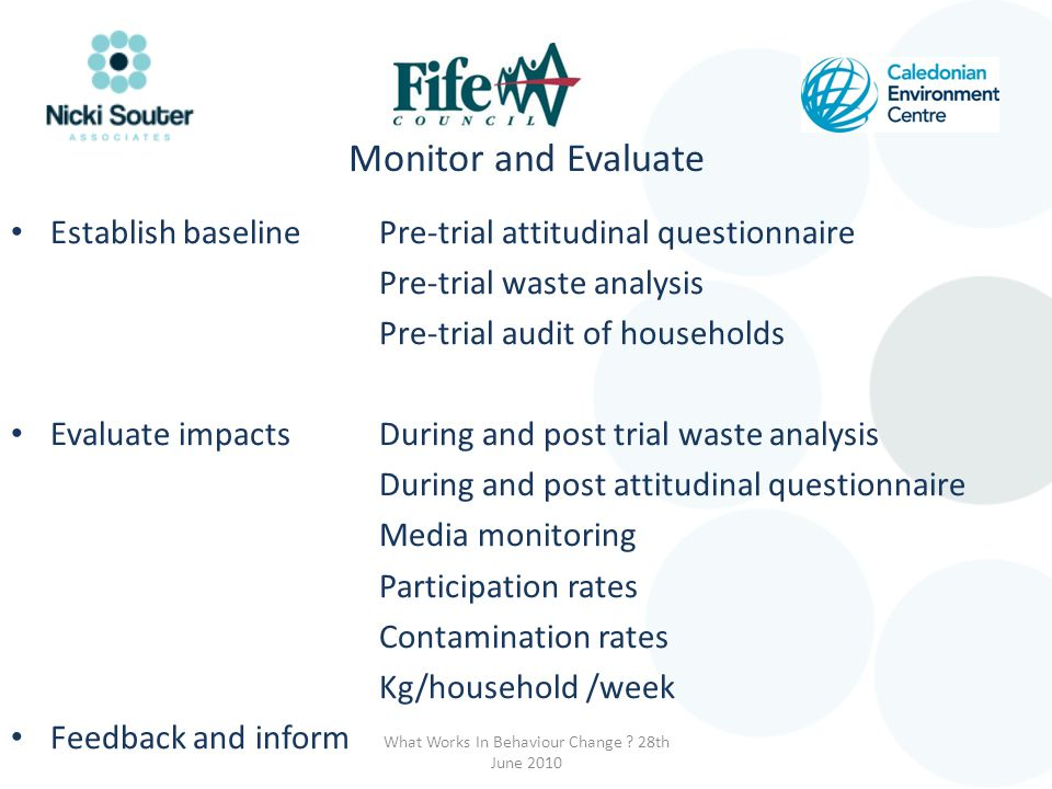 Monitor and Evaluate Establish baselinePre-trial attitudinal questionnaire Pre-trial waste analysis Pre-trial audit of households Evaluate impactsDuri