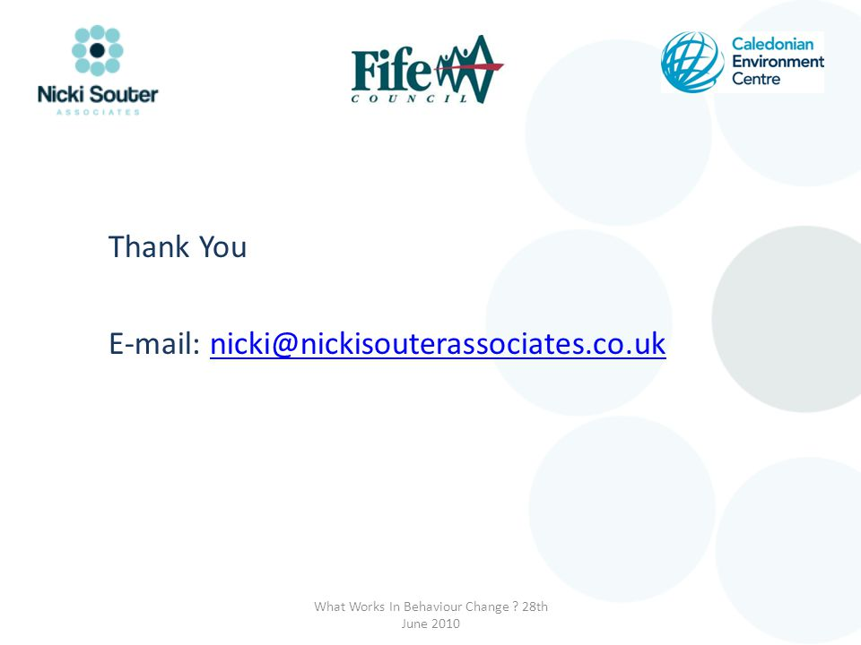 Thank You E-mail: nicki@nickisouterassociates.co.uknicki@nickisouterassociates.co.uk What Works In Behaviour Change .