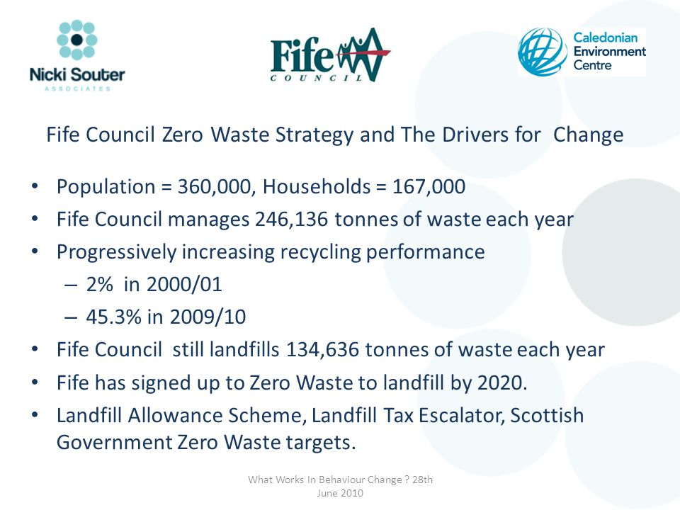 Fife Council Zero Waste Strategy and The Drivers for Change Population = 360,000, Households = 167,000 Fife Council manages 246,136 tonnes of waste each year Progressively increasing recycling performance – 2% in 2000/01 – 45.3% in 2009/10 Fife Council still landfills 134,636 tonnes of waste each year Fife has signed up to Zero Waste to landfill by 2020.