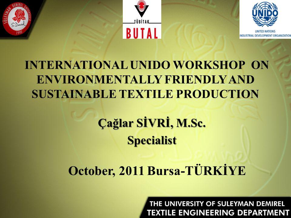 INTERNATIONAL UNIDO WORKSHOP ON ENVIRONMENTALLY FRIENDLY AND SUSTAINABLE TEXTILE PRODUCTION Çağlar SİVRİ, M.Sc.